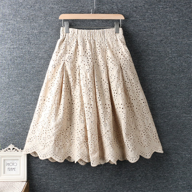 New Spring Fresh Skirts Womens 2020 Embroidered Cotton Hollow Out Skirt Elastic Waist Loose Skirt