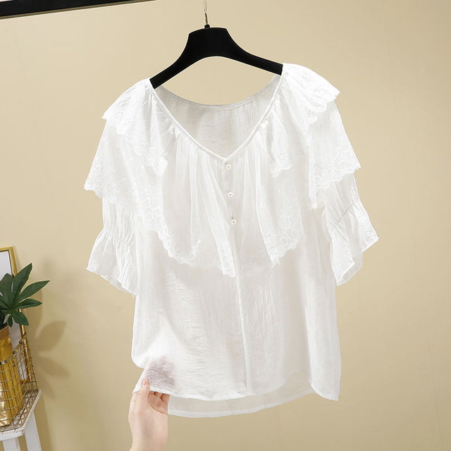 Women Spring Summer Style Chiffon Blouses Shirts Lady Casual Short Sleeve Ruffles Decor V-Neck Chiffon Blusas Tops DF3818 2