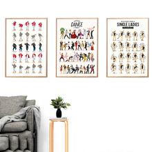 Постер с изображением танцевальных гидов и рисунок создает яркость