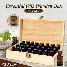 32 сетки Эфирное масло коробка из натурального дерева ароматерапия деревянная коробка сокровище хранения ювелирных изделий Органайзер руч...