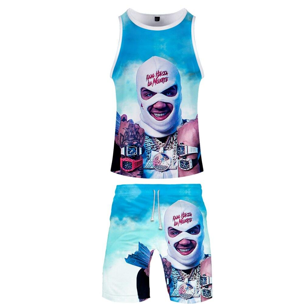2019 Anuel AA Two Piece Set Tank Top And Shorts Harajuku Men Tank Top Streetwear Basketball Sleeveless Streetwear