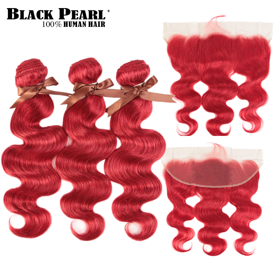 Black Pearl Red Bundles With Frontal Brazilian Body Wave  Remy Human Hair Extensions 2 3 Bundles Red Bundles With Frontal
