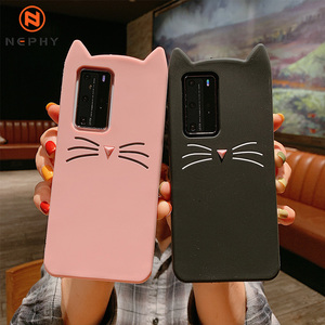 Luxury Cute Cat Silicone Soft Case For Huawei P20 P30 P40 Lite Mate 20 30 Pro Honor 10 Nova 3e 7i Shockproof Mobile Phone Cover(China)