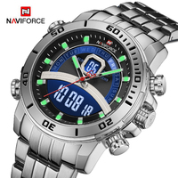 NAVIFORCE-Reloj de pulsera de cuarzo deportivo para hombre, cronógrafo Digital LED, militar, de acero impermeable, de marca de lujo