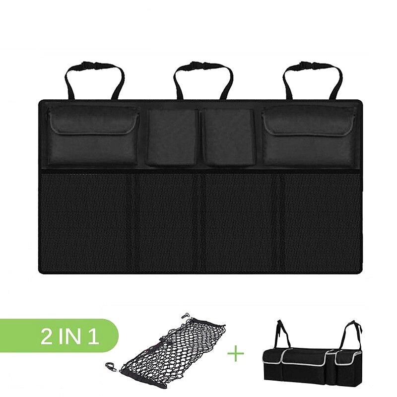 Car Trunk Organizer Adjustable Backseat Storage Bag Net Oxford Automobile Seat Back Organizers Car Interior Accessories Supplies