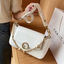 Pearl Design PU Leather Shoulder Underarm Bags for Women 2021 Luxury Chain Female Handbag and Purse Fashion Travel Crossbody Bag
