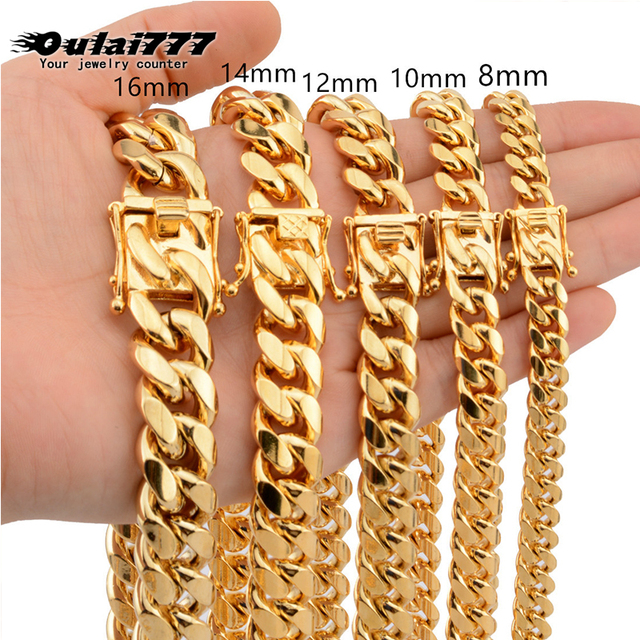 Cuban link chain male necklaces pride 12mm 14mm 16mm 18mm stainless steel big long gold necklace chunky necklace male accesories