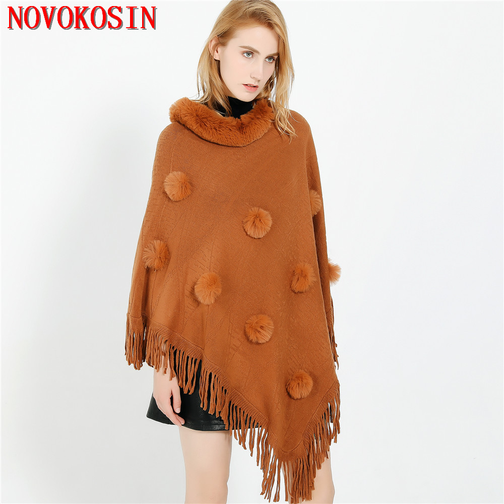 US $17.35 |8Color 2020 Autumn Winter Fur Ball Women Triangle Sweater Batwing Sleeve Faux Cashmere Poncho Cape Faux Fur Neck Loose Pullovers|Women's