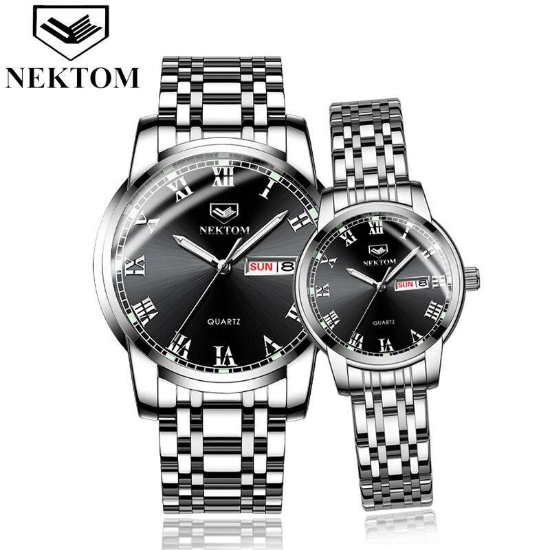 NEKTOM 2 Pieces Mens Watches Luxury Brand Stainless Steel Quartz Couple Watch Women Waterproof Male Wristwatch Erkek Kol Saati