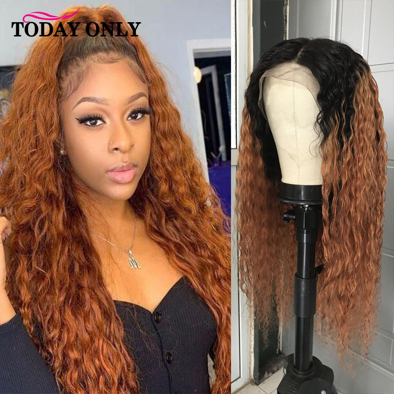 Mongolian Kinky Curly Wig Lace Front Human Hair Wigs For Black Women 13x4 180% 250 Density Ombre Human Hair Wig Pre Plucked Remy