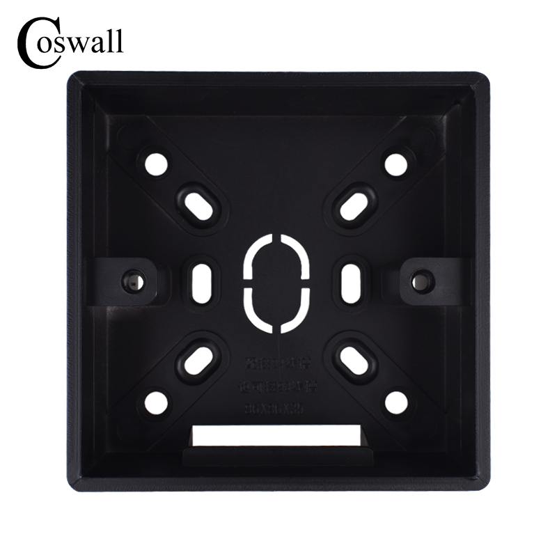 Coswall 32mm Depth Black External Mounting Box 86mm*86mm*35mm For 86 Type Switches And Sockets Apply For Outside Of Wall Surface