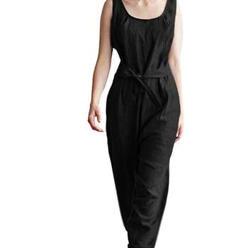 Women Summer Plus Size Solid Color Sleeveless Jumpsuit Belted Long Pants Romper Jumpsuit Belted Long Pants Romper Women Summer фото