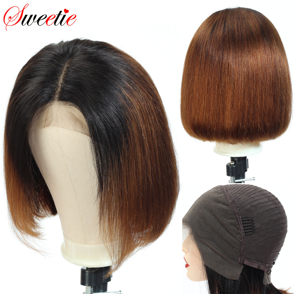 Sweetie  Short Bob Lace Front Wigs 1b/30 Color Ombre Lace Front Human Hair Wigs For Women Remy Peruvian Straight Human Hair Wigs-in Human Hair Lace Wigs from Hair Extensions & Wigs
