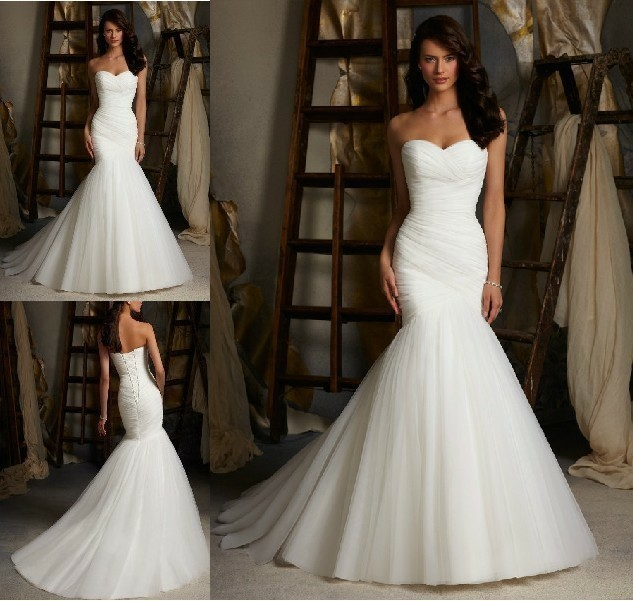 Free Shipping Bandage 2019 New Style White/Ivory Mermaid Sweetheart Princess Bride Bridal Gown Custom Made Bridesmaid Dresses