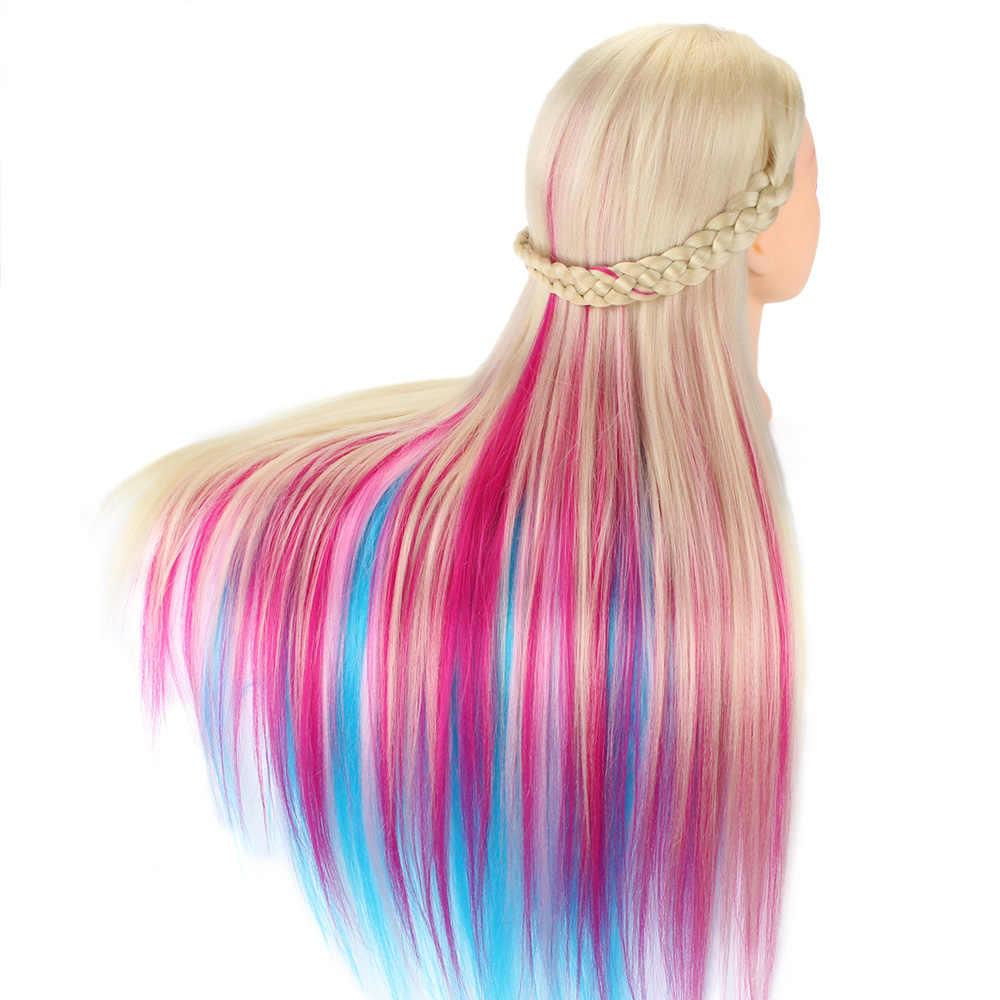 70CM ארוך צבעוני שיער שיער ההדרכה ראש עם Stand קומבס טוב סינטטי שיער Dummy בובת גמד ראש עבור תסרוקות