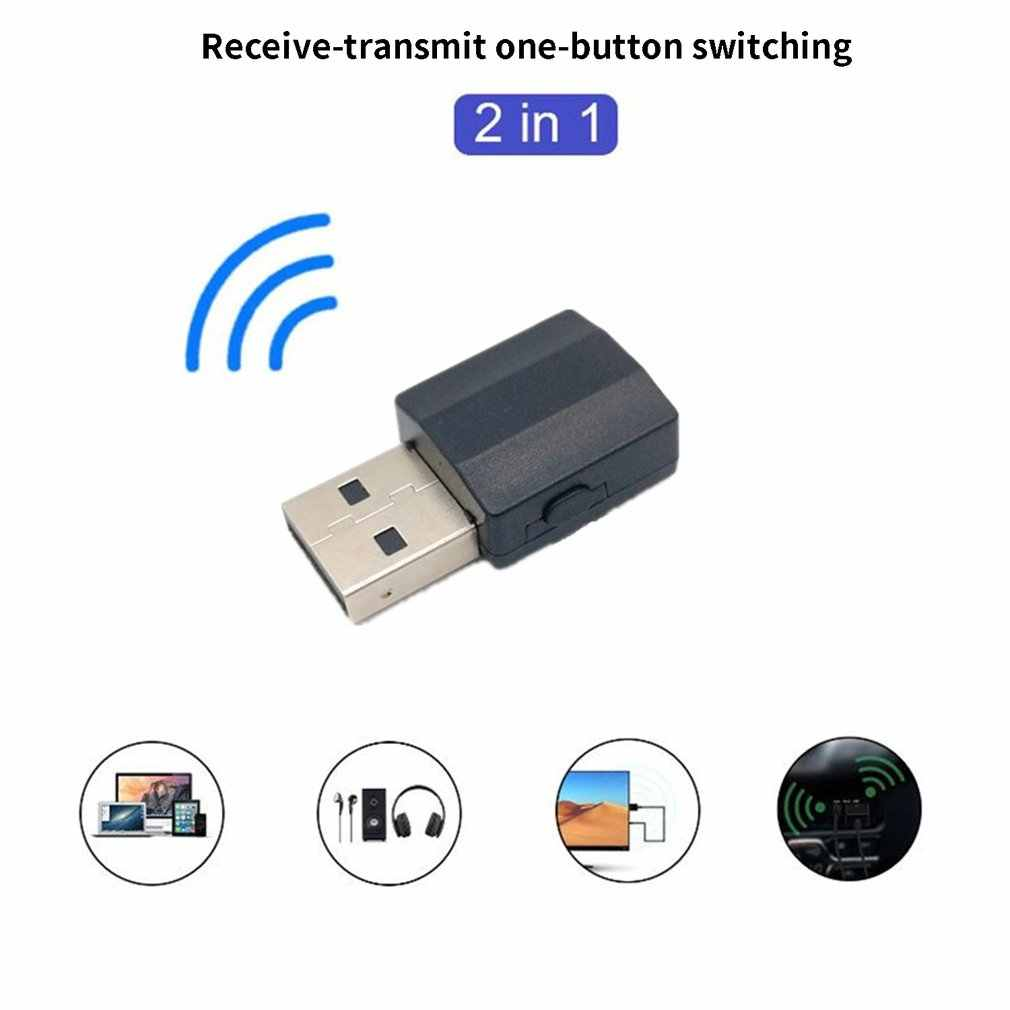 2in1 Bluetooth 5.0 Audio Receiver Transmitter Adaptor Nirkabel Mini 3.5 Mm Aux Stereo Bluetooth Transmitter untuk TV PC Mobil Speaker