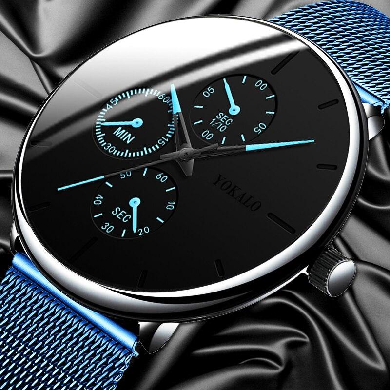 2020 Топ люксовый бренд Мужские часы с сетчатым ремешком стальные часы мужские классические 3 глаза наручные часы Мужские часы подарок relogio ...