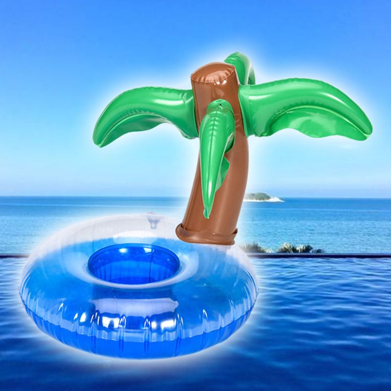 Coconut Tree Shape Cup Holder Floating Inflatable Coaster Milk Tea Seat Boys Girls Water Pool Toy Beach Party