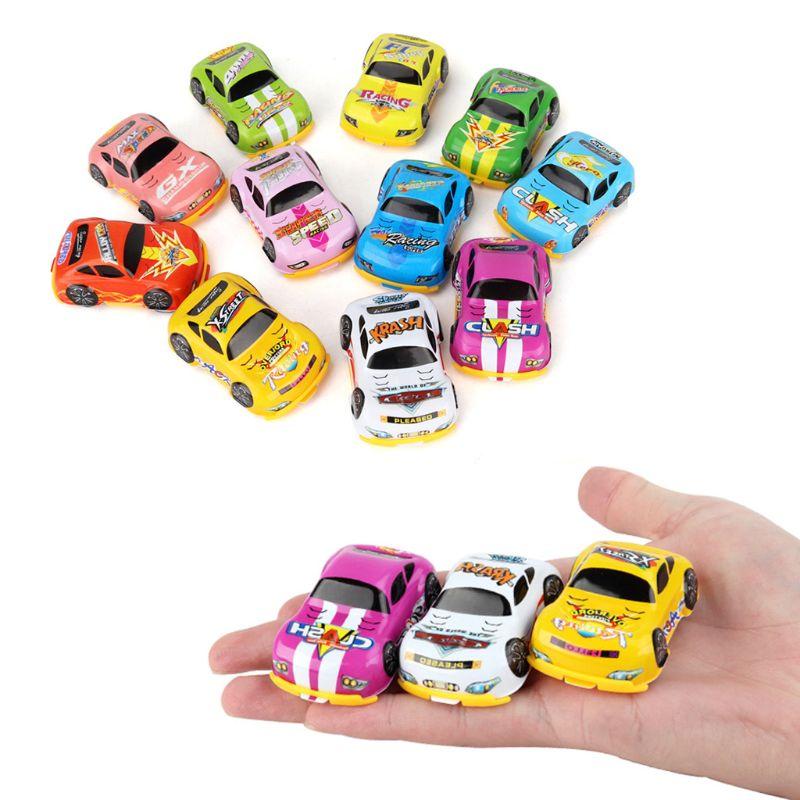 HBB 11pcs Kids Boy Mini Car Model Toy PVC Plastic Small Car Die-Cast Vehicle Toys Children Birthday Holiday Gift Random Color