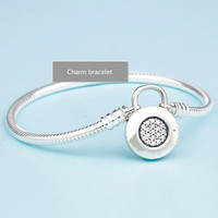 No fading NEW 100% 925 silver beads charm bracelet bangle for women jewelry making,1pz