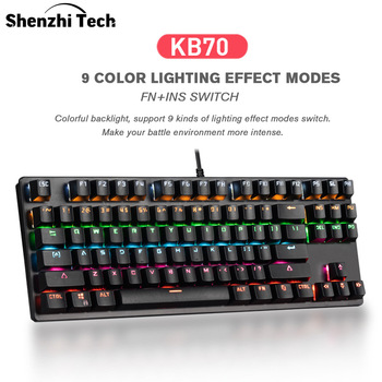 KB70 Mechanical Gaming Keyboard RGB LED Rainbow Backlit USB  Wired  Keyboard for Gaming PC(87 Keys) usb wired backlit gaming keyboard optical mechanical keyboard for computer pc laptop game player accessories
