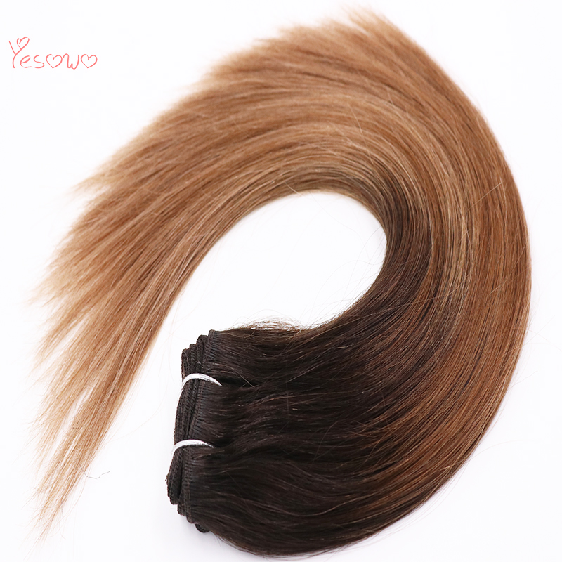 Yesowo Machine Made 1b/6/27# Ombre Natural European Real Remy Straight Bundles Double Drawn Hair Weft