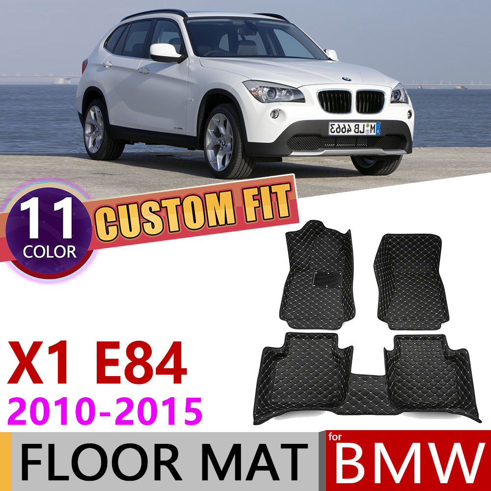 Custom Leather Car Floor Mats For BMW X1 E84 2010~2015 5 Seats Waterprool Auto Foot Pad Carpet Accessories 2011 2012 2013 2014