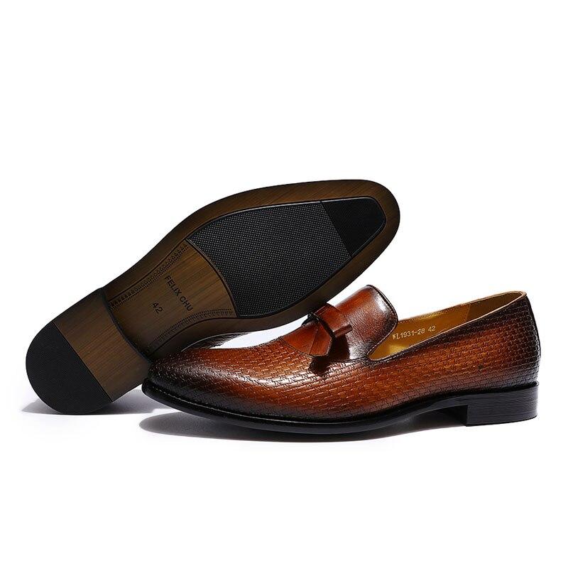 FELIX CHU/модные мужские свадебные лоферы из натуральной кожи с бантом; цвет коричневый, черный; комфортные классические туфли; мужская повседн... - 3