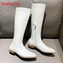 Krazing pot microfiber pointed toe low heels women knee high boots elegant zipper fashion office lady keep warm winter shoes L90