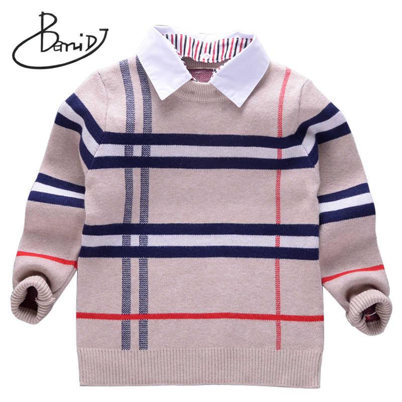 2018 חדש סתיו בני סוודר משובץ ילדי סריגי בני כותנה בסוודרים סוודר ילדים אופנה הלבשה עליונה חולצה 2-8T בגדים