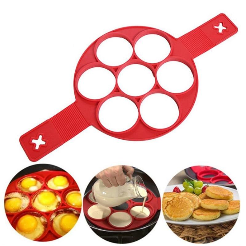 Molde de silicone antiaderente para cozinha, 1 peça, anel, para fazer panquecas, ovo, omelete, para cozimento, panela giratória, fantástico