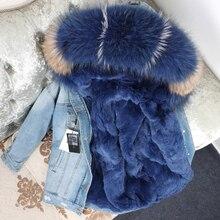 Oftbuy 2020 jaqueta de inverno feminino casaco de pele real parka gola de guaxinim real rex coelho forro listrado bombardeiro denim jaqueta streetwear