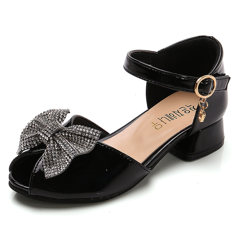 Summer Casual Butterfly-knot With Rhinestone Children's Kids Low Heels Open Toe Leather Shoes Medium Big Girls Princess Sandals