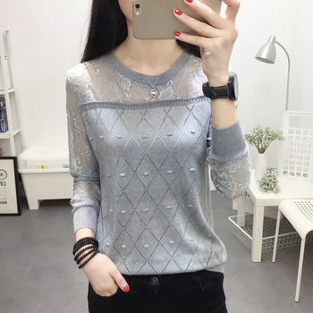 2019 laceSweater female bottomed blouse short style hollow long sleeve loose-fitting spring new thin Knitted Blouse blouse trend