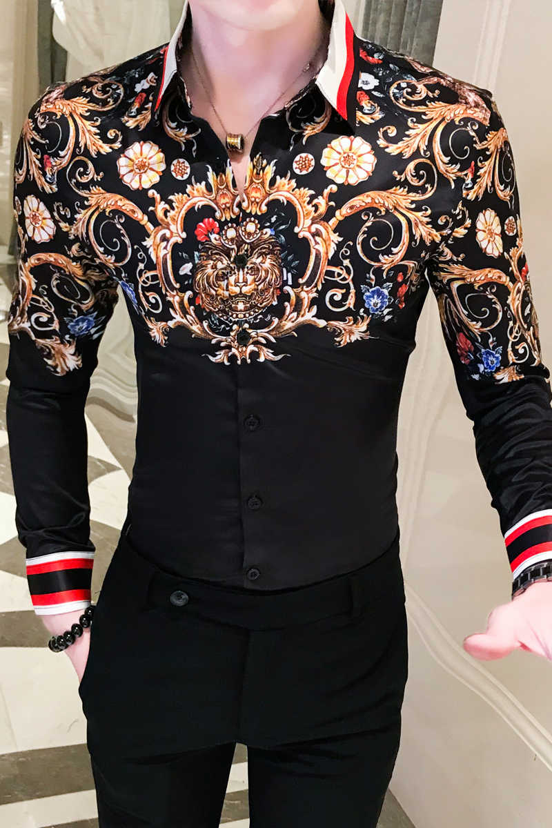 Camisa de Paisley para hombre camisa barroca dorada negra Overhemden Heren hombres Slim Fit camisa de manga larga botón camisa Fiesta Club Chemise homme