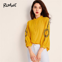 ROMWE Embroidered Bishop Sleeve Button Up Women Blouse Autumn Chinese styles Minimalist Ladies Tops 2019 Placket Green Shirt цены