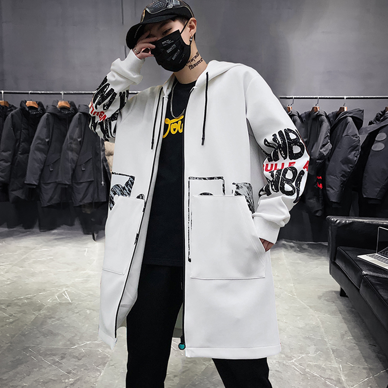 Hip Hop Men New  Autumn Casual Long Jacket Trench Coats Men Fashion Hooded Solid Printing Pocket Trench Jackets Men Streetwear