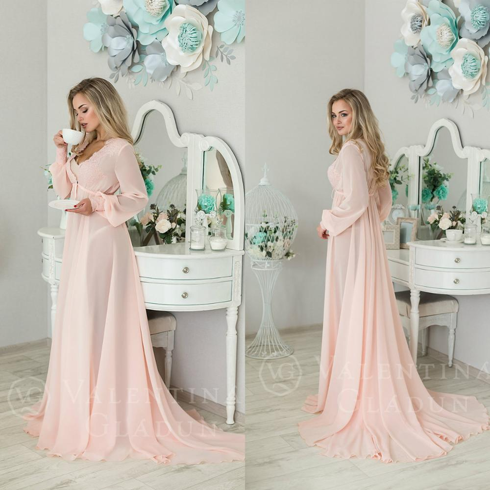 Pink V Neck See Through Women Night Robes Custom Made Long Sleeves Lace Chiffon Nightgowns Robes Women Sleepwear