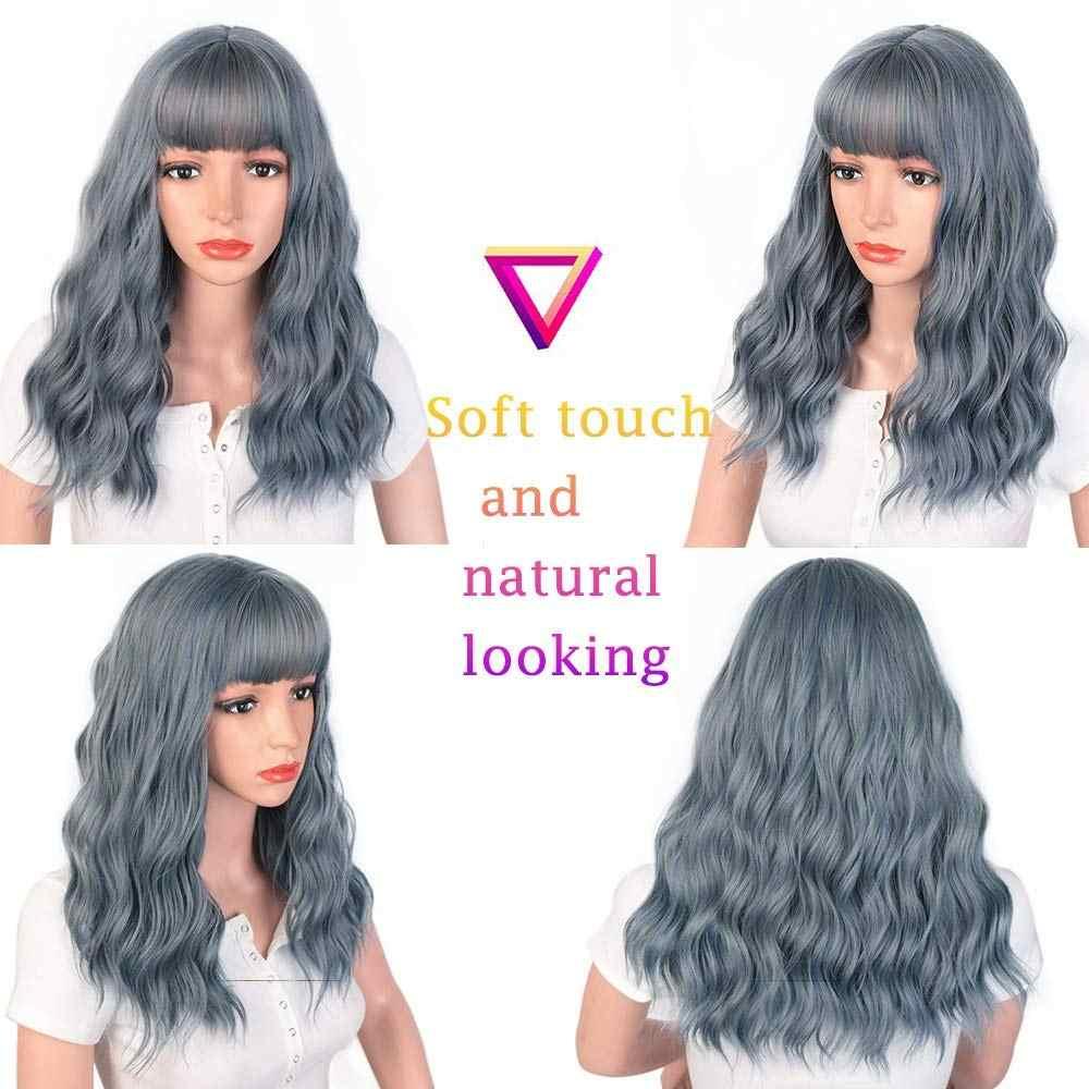 Damgalı muhteşem doğal dalga peruk mavi veya siyah kahküllü peruk sentetik uzun peruk kadınlar için ısıya dayanıklı iplik saç