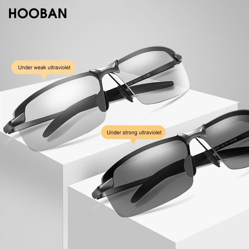 HOOBAN Vintage Photochromic Sunglasses Men Fashion Rectangle Polarized Sun Glasses Male Driving Chameleon Eyewear Night Vision
