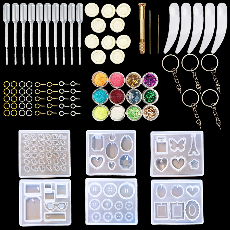QIAOQIAO DIY Jewelry Casting Molds Tools Set More Silicone Jewelry Resin Molds With Designs Earring Molds With Designs title=