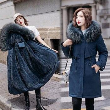 Veste épaisse en laine pour femme, Parka chaude mi-longue, Parka à capuche en fourrure à l'intérieur, manteau femme, grande taille 6XL DH33 1