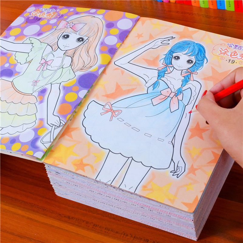 Random 3 Books/set Children Drawing Painting Board Learning Educational Toy Color Book Gift Girl Pic