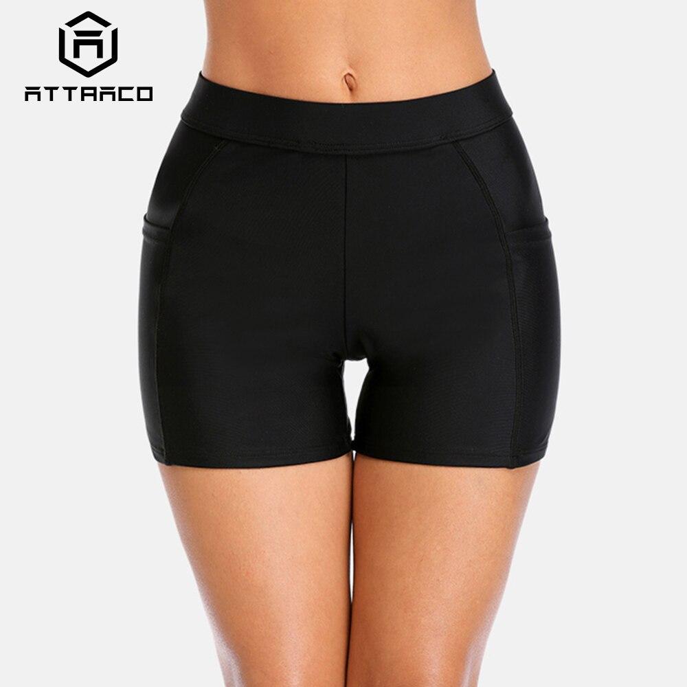 Attraco Women Sports Swimming Trunks Ladies Bikini Bottom Boy Shorts Slim Patchwork Skinny Swim Shorts Swimwear Briefs