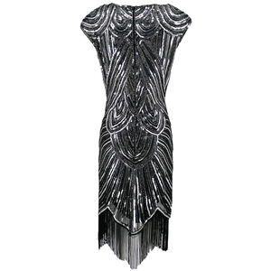 Image 4 - 女性 1920s ダイヤモンドスパンコール修飾語フリンジグレートギャツビーフラッパードレスキャップスリーブレトロミディパーティードレスウクライナ vestido