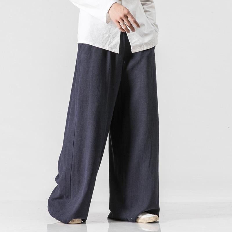 Mens Nature Cotton Linen Baggy Trousers Men Casual Solid Straight Loose Pants Plus Size Wide Leg Pantalon Hombre
