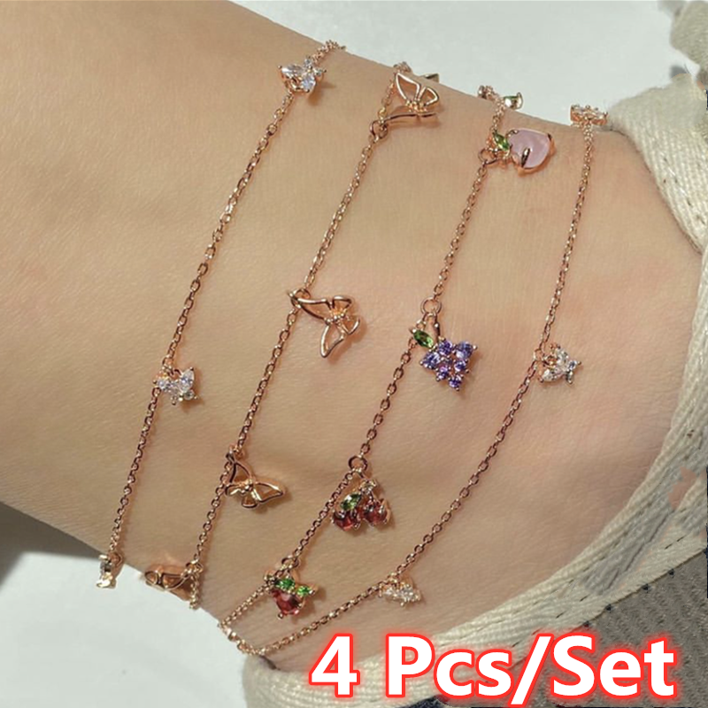 4 Pcs/Set Sweet Women Fashion Crystal Apple Cherry Grape Fruits Anklets for Women Trendy Butterfly Anklets Set Jewelry Gifts