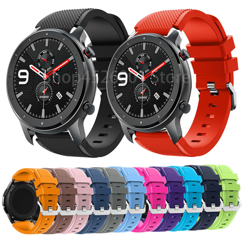 22mm Wrist Strap For Huami Amazfit GTR 47MM Silicone Watch Bands For Amazfit GTR Replacement Bracelet Band Smart Accessories