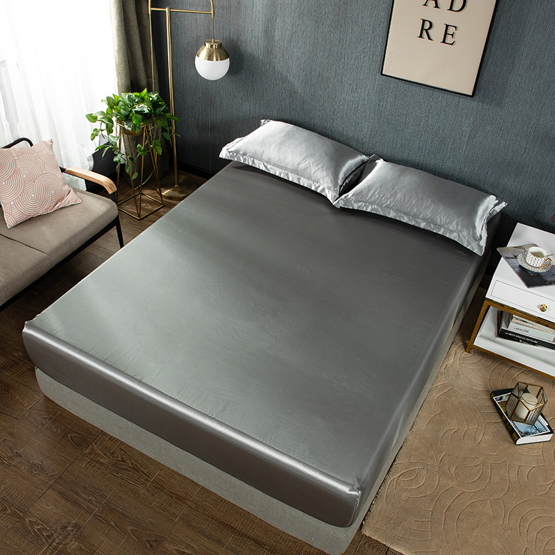 Elastic Fitted Sheet Bed Linen Silky Satin Home Luxury Mattress Cover Couple Double Queen King Size