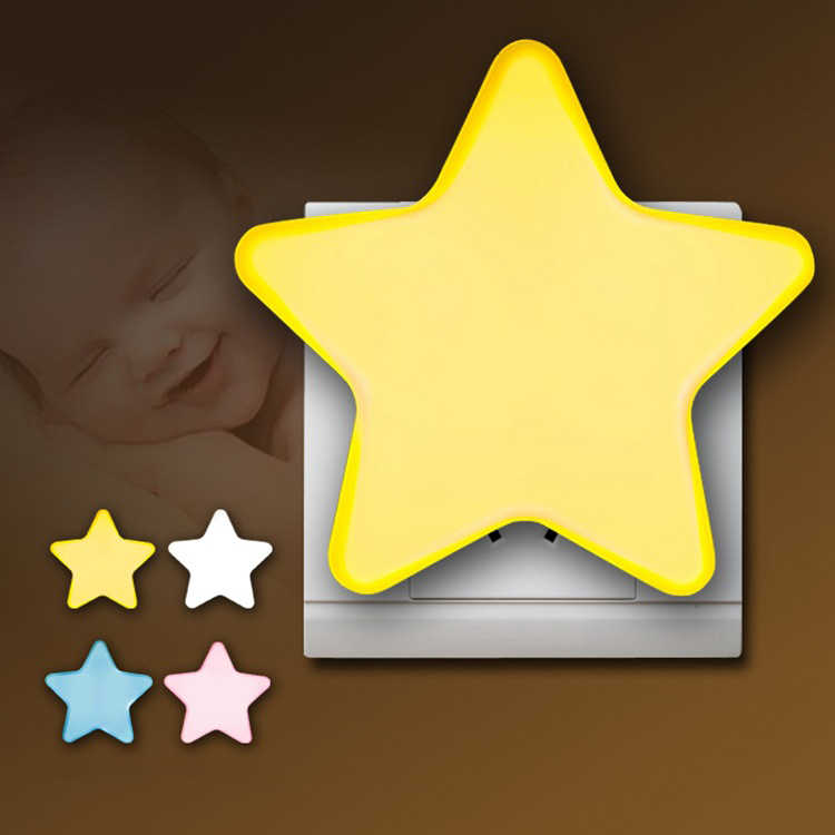 Mini Cute Star LED Night Light EU/ONS AC110-220V Pulg-in Socket Nachtkastje Wandlamp Licht Sensor Controle kinderen Kids Night Lamp